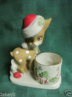 Vtg CERAMIC REINDEER FAWN HEAD VASE PLANTER w/SANTA HAT WINKING EYE JASCO 1978