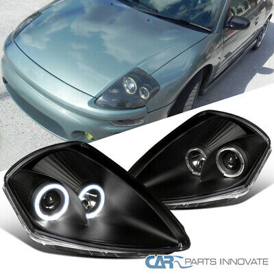 JDM Black 00-05 Eclipse Dual Halo Ring Projector Headlights Lamps