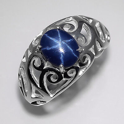 Natural Blue Star Sapphire Sterling 925 Silver Ring Size 7.75/R5618
