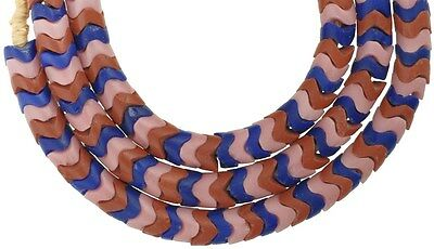 """Old MIX STRAND OF LARGE """" snake chain """" CZECH BOHEMIAN GLASS BEADS AFRICAN TRADE"""