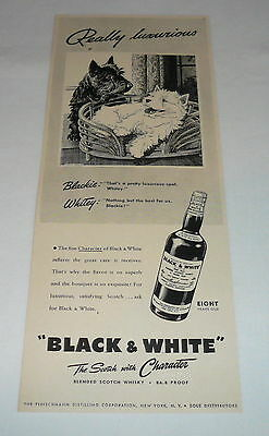 1942 Black+White Scotch Whisky ad ~ SCOTTIE AND WESTIE ~ Really Luxurious