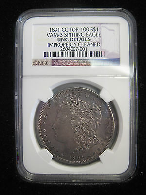 1891 CC Morgan Dollar Spitting Eagle NGC Graded UNC Details Improperly Cleaned