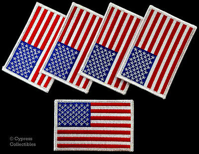 LOT OF 5 AMERICAN FLAG iron-on PATCH BIKER MOTORCYCLE embroidered USA PATCHES