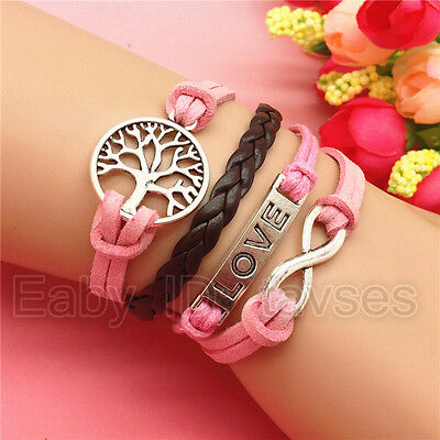 NEW HOT Charm Fashion Jewelry LOVE TREE Leather Cute Bracelet Silver BROWN A99