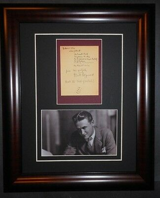 F Scott Fitzgerald American Author Signed Note Framed Great Gatsby