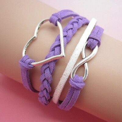 NEW Hot Infinity Love Anchor Leather Cute Charm Bracelet plated Silver DIY XL8