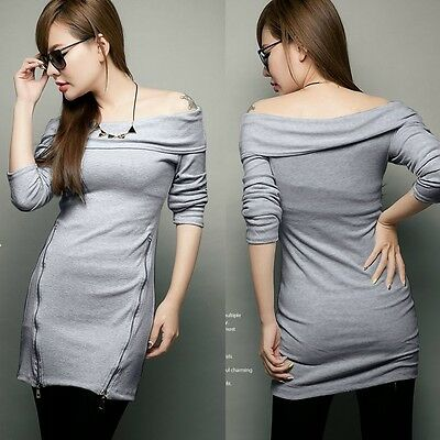 Grey Boat Neck Off Shoulder Womens Hip-wrapped Exposed Zipper Mini Dress Bodycon