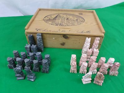Vintage Aztec/Mexico Chess Set, Marble/Hand Carved Grey&Salmon Pink Stone (639)