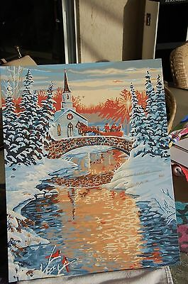 CHURCH HORSE SLEIGH BRIDGE REFLECTION IN WATER PAINT BY NUMBER 16 X 20 BEAUTY