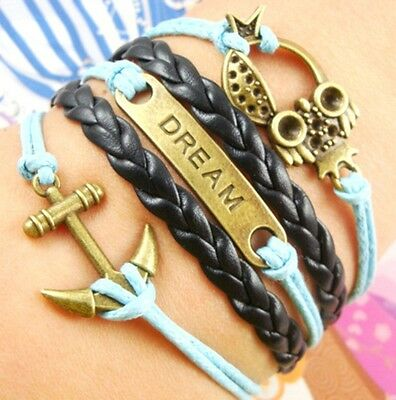 NEW Hot Infinity Love Anchor Leather Cute Charm Bracelet Bronze DIY SL158