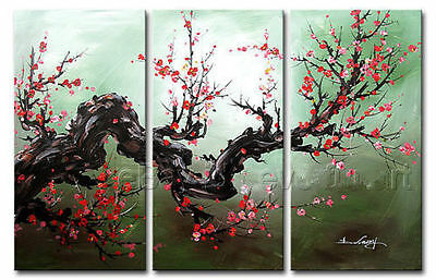 Hand-painted Wall Decor Asian Art Cherry Blossom Flower Oil Painting On Canvas
