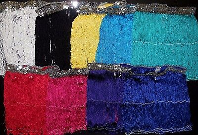 "NWT Dance 12"" Fringe Skirt Silver Sequin Waistband 9 Color Choices Ladies/Girls"