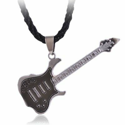 Unisex Rock Guitar Stainless Steel Pendent Necklace Men Black Leather Jewelry