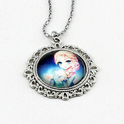 NEW FROZEN PENDANT Silver Plated CHAIN NECKLACE ROYAL PRINCESS Anna & Elsa W51