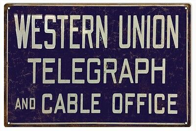 Western Union Telegraph And Cable Office Metal Sign
