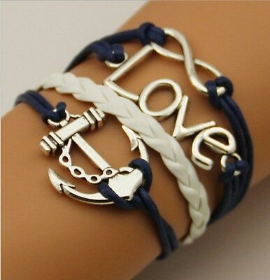 NEW Hot Infinity Love Anchor Leather Cute Charm Bracelet plated Silver  SL100D