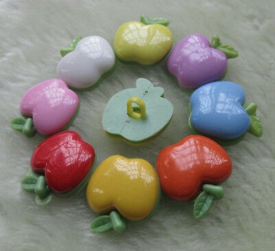 40pcs 20mm Mix color Apple Plastic button sewing doll baby cloth appliques New!!