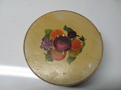 """Vintage/Antique Hat/Vanity Box-Round-Hand Painted & Lacquered-6 1/2"""" Diameter"""