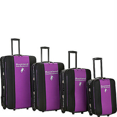 Rockland Luggage Polo 4 Piece Luggage Set - Purple