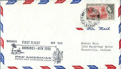 Barbados 1957 Pan American First Flight cover to New York