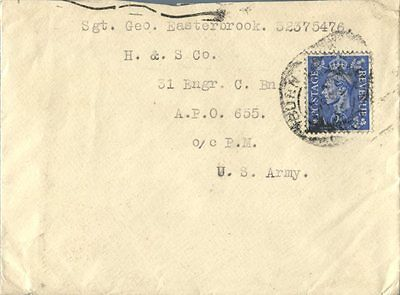 1945 UK single franked cover to APO 655 U.S. Army WWII