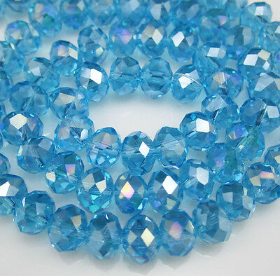 NEW Jewelry Faceted 100pcs Rondelle crystal #5040 3x4mm Beads Lake Blue AB EM85