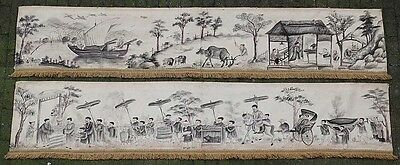 A GOOD antique CHINESE HAND PAINTED WALL HANGING BANNERS 19TH CENTURY