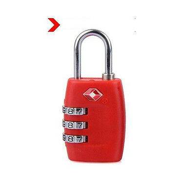 New TSA Luggage Security Suitcase Bag Travel Lock 3 Dial Combination Padlock Red