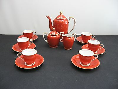 HAND PAINTED MADE IN OCCUPIED JAPAN ORANGE COFFEE SET 15 PIECES