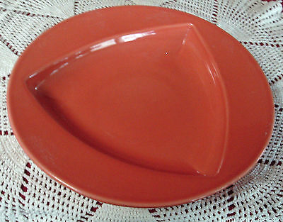 """HOMER LAUGHLIN FIESTA PINK SOUP PAST PLATE 11"""" DIA ROUNDED TRIANGULAR PATTERN"""