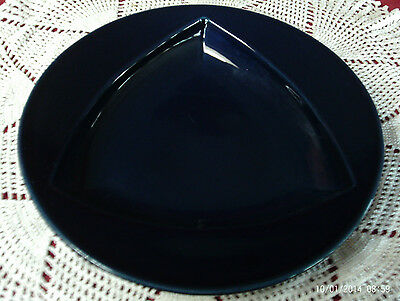 """HOMER LAUGHLIN FIESTA BLUE SOUP PAST PLATE 11"""" DIA ROUNDED TRIANGULAR PATTERN"""