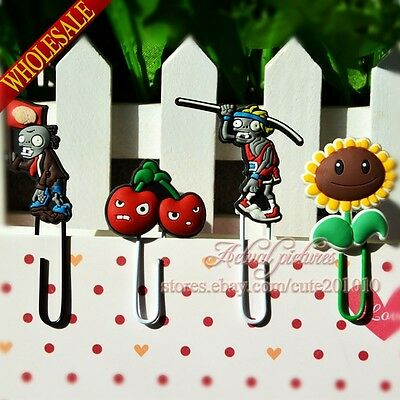 4pcs Plants VS Zombies DIY Office School Supplie Bookmarks,Paper clips,For Gifts