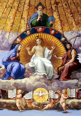 "Oil painting portraits The Holy Trinity Christ Madonna St.John angels 36""x48"" AA"