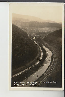 Real Photo Postcard National Highway from Lovers Leap Cumberland MD