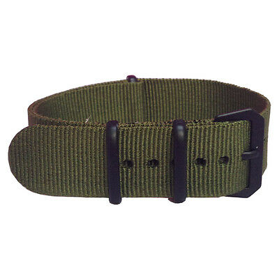 20mm Black Buckles Solid Green Woven Nylon Watch Strap Wristwatch Fabric Band