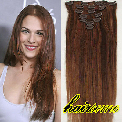 """HOT Sale~15"""" 7pcs Clip in Human Hair Extensions #4/30 Brown&Auburn 70G HAIRSOME"""