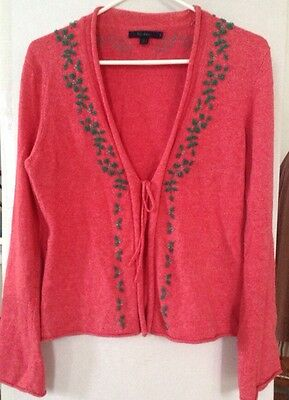 Women's Boden Sweater, 12, Pink w Green Floral Design, Tie Front, Cotton Blend