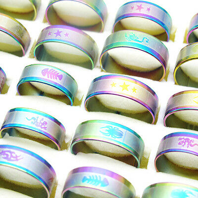 Wholesale lots 10Pcs Fashion Rainbow Stainless Steel Mix Size Charm Rings T10