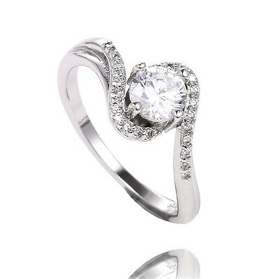Hot Fashion 1pc 925 Sterling Silver Clear Gemstone Ring Size 8