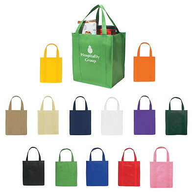 50 IMPRINTED GROCERY TOTE BAGS Eco Friendly Promo - MORE PRODUCTS IN OUR STORE