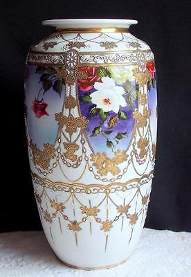 GORGEOUS HUGE HAND-PAINTED VASE W/ ROSES RAISED GOLD & COLORED DOTS NIPPON?