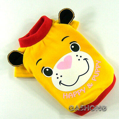 Dog&Cat Clothes Printing Hippo & 3D Ears Sweater Thick Shirts_B303 Yellow,sz M