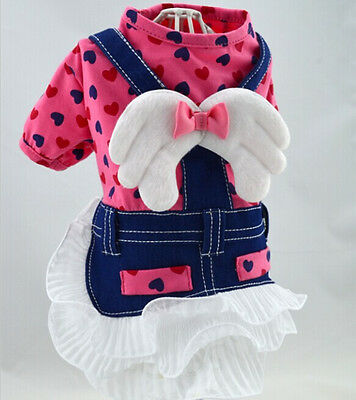 New Small Pet Girl Dog Clothes Apparel Pink Angel Jeans Princess Dress Size S