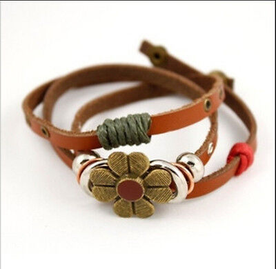 Fashion Bracelets For Girl Lady's Women Leather Lovely Flower Style Brown