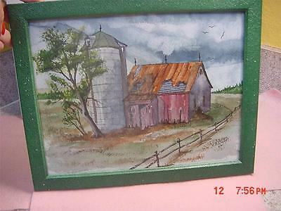BEAUTIFUL WATERCOLOR PAINTING signed C.B. DUNN DATED 6/01 BARN WITH SILO