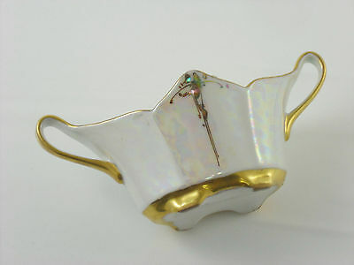 Mother of Pearl HAND PAINTED Nippon SUGAR BOWL two handled Gold lined Gorgeous