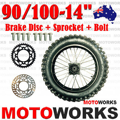 "90/100 -14"" Inch Rear Back Wheel + Sprocket Disc Bolt Dirt Pit PRO Trail Bike"