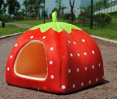 RED Soft Strawberry Pet Dog Cat Bed House Kennel Doggy Warm Cushion Basket XL