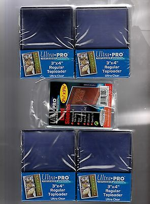 "100 BRAND NEW ULTRA-PRO 3"" x 4"" REGULAR TOP-LOADERS & 100 SOFT PENNY SLEEVES (A)"