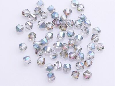 Wholesale 200pcs 4mm Bicone Faceted Crystal Glass Loose Spacer Beads Rose Green